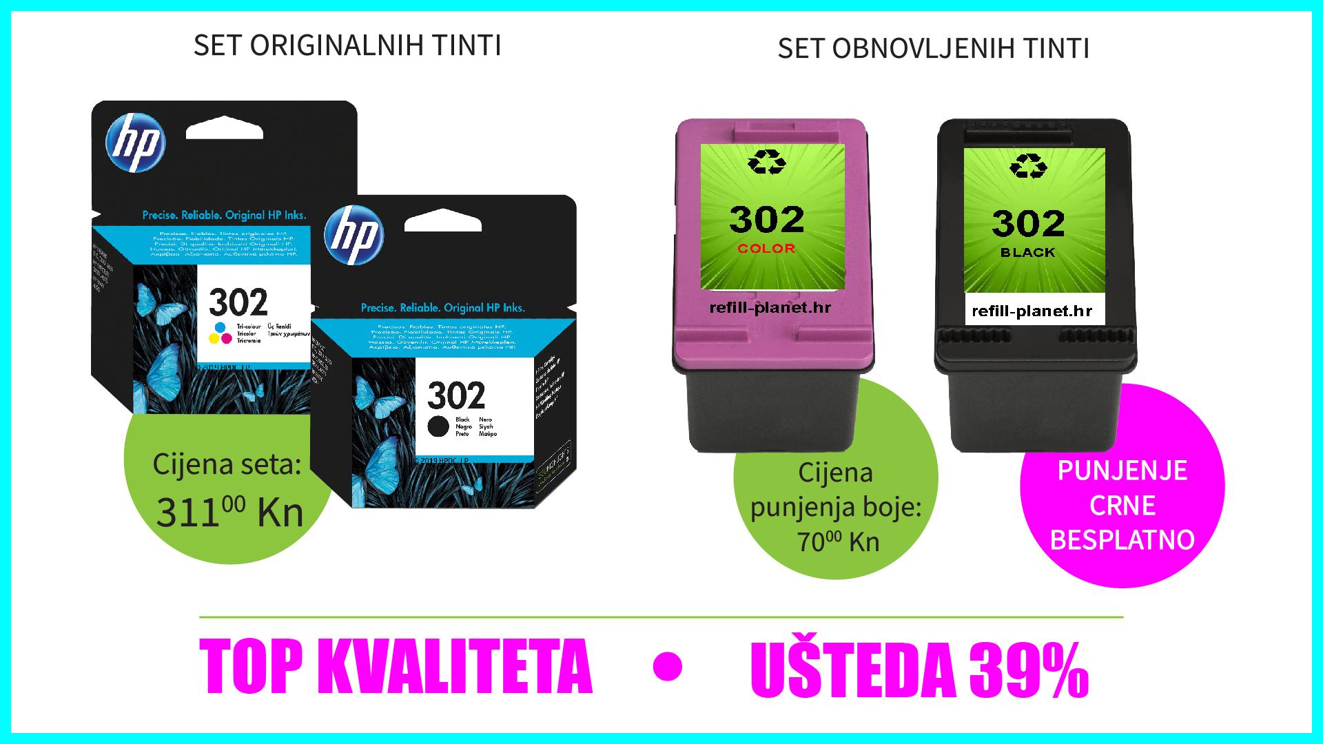 Ušteda pri kupnji HP 302 tinti